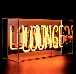 'LOUNGE', Neonschrift